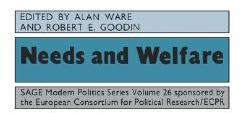 Needs and Welfare - Robert E. Goodin, Alan Ware, Alan J. Ware (ISBN: 9780803983052)