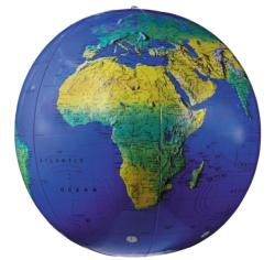 """16"""" Dark Blue Topographical Inflatable Globe (2013)"""