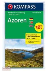 2260. Azori szigetek turista térkép, Azoren, 2teiliges Set turista térkép Kompass 2017 Azori térkép (ISBN: 9783850269643)