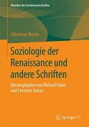 Soziologie der Renaissance und anderen Schriften - Herausgegeben von Richard Faber und Christine Holste (ISBN: 9783658104481)