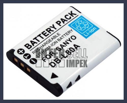 Sanyo DB L80 3.7V 700mAh utángyártott Lithium Ion kamerafényképezőgép akkuakkumulátor
