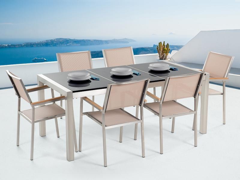 Beliani Grosseto kerti bútor szett - polírozott gránit asztallap 180cm és 6db  textil szék f71d3ad7ca