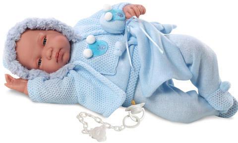 Llorens Lloron újszülött fiú baba kék kapucnis ruhában takaróval - 44 cm ba2ef1be4e