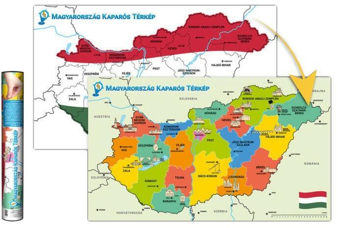 2f4564da2222 Vásárlás: Kaparós Magyarország térkép, Magyarország kaparós térképe ...