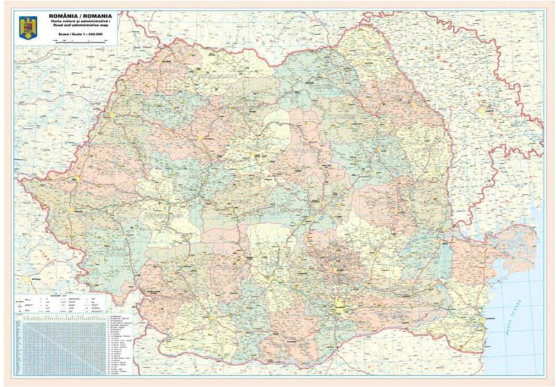Harta De Perete Romania Administrativ Rutiera Laminata 200x140