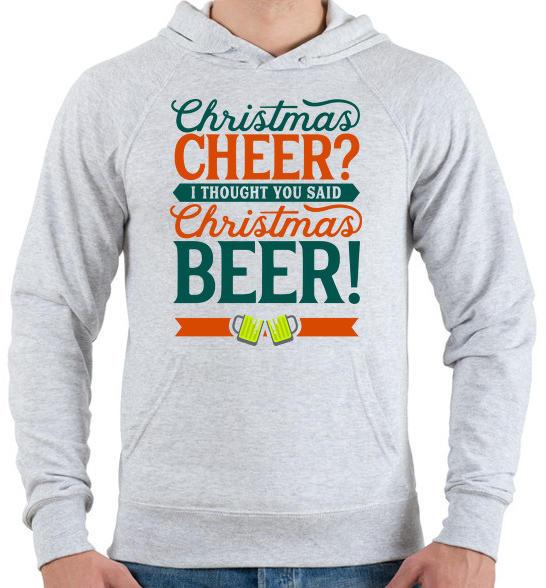 00ac53318 Karácsonyi sör - Férfi kapucnis pulóver - Sport szürke