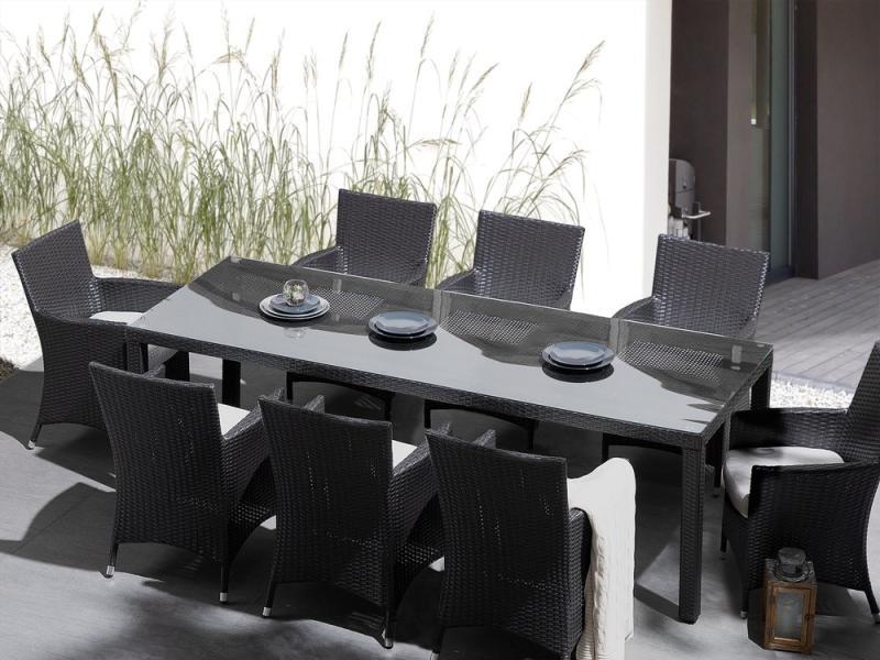 Kerti Sötétbarna Rattan Asztal Üveglappal 220 x 100 cm ITALY