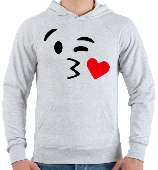 Csókos smile Férfi kapucnis pulóver Sport szürke