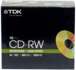 TDK CD 700MB/80min újraírható CD lemez (slim tok, 10db/csomag, 12x) (CTDWHS10)