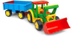 Wader Óriás traktor utánfutóval és tolólappal