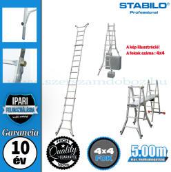 KRAUSE STABILO teleszkópos csuklós létra 4x4 fokos 4 szármegosszabbítással, profi (123589)