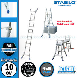 KRAUSE STABILO teleszkópos csuklós létra 4x5 fokos, profi (123572)