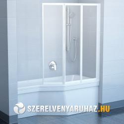Ravak VS3 100 háromelemes, harmonika rendszerű kádparaván, fehér kerettel - rain műanyag betétlemezzel (795P010041)