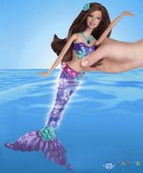 Mattel Barbie - Világító sellő - barna (V7046/V7048)