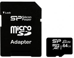 Silicon Power microSDXC Elite 64GB C10/U1/UHS-I SP064GBSTXBU1V10-SP