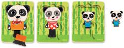 DJECO Panda család - 3 rétegű fa kirakó (1471)