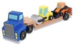 Melissa & Doug Camion transportor cu platforma cu utilaje de constructii (MD4550)