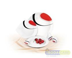 ROTBERG Desszertes tányér porcelán 22 cm átmérőjű, fehér piros-fekete mintával (KHPU050)