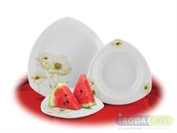 ROTBERG Desszertes tányér, porcelán, 19 cm átmérőjű, fehér, mákvirág mintával (KHPU084)