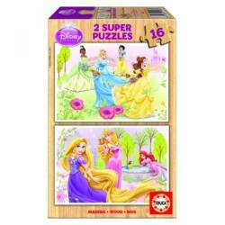 Educa Disney Hercegnők 2x16 db-os fa puzzle (15283)