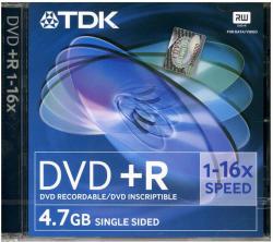 TDK DVD+R 4.7GB 16x - Vékony tok 10db (DVD+R16XS10)
