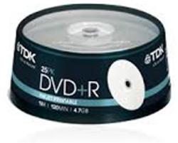 TDK DVD+R 4.7gb 16x - шпиндел 25бр
