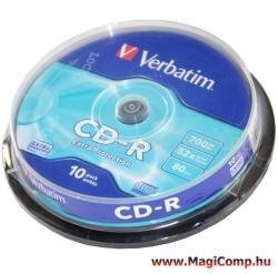 Verbatim CD-R 700MB 52x - Henger 10db Crystal AZO (CDV7052B10)