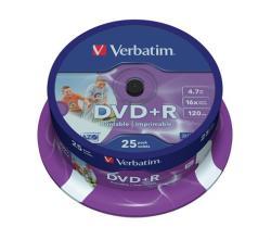 Verbatim DVD+R 4.7GB 16x - Henger 25db AZO Nyomtatható (DVDV+16B25PP)