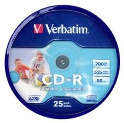 Verbatim CD-R 700MB 52x - Henger 25db AZO Szélesen Nyomtatható (43439)
