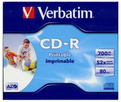 Verbatim CD-R 700MB 52x - Szélesen nyomtatható Azo