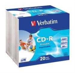 Verbatim CD-R 700MB 52x - Vékony tok 20db Szélesen nyomtatható Azo (CDV7052V20PP)