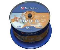 Verbatim DVD-R 4.7GB 16x - Henger 50db Nyomtatható Azo (DVDV-16B50PP)