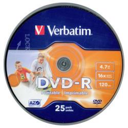 Verbatim DVD-R 4.7GB 16x - Henger 25db Szélesen nyomtatható Azo