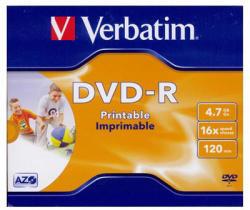 Verbatim DVD-R 4.7GB 16x - Szélesen nyomtatható Azo