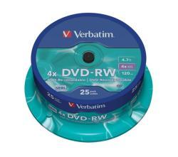 Verbatim DVD-RW 4.7GB 4x - Henger 25db SERL (DVDVU-4B25)