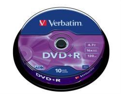 Verbatim DVD+R 4.7GB 16x - Henger 10db AZO (DVDV+16B10)