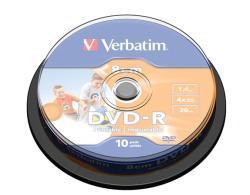 Verbatim DVD-R 1.4GB 4x - Henger 10db Nyomtatható (DVDV-48CMB10N)