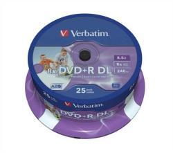 Verbatim DVD+R 8.5GB 8x - Henger 25db Dual layer Nyomtatható