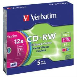 Verbatim CD-RW 700MB 10x - Vékony tok 5db