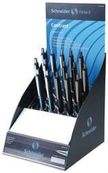 Schneider Contrast golyóstoll display (15db) 0.5mm, nyomógombos - Vegyes színek (TSCCONTV15)
