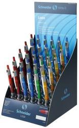 Schneider Loox golyóstoll display (30db) 0.5mm, nyomógombos, vegyes színű tolltestek - Kék (TSCLOOXV30K)