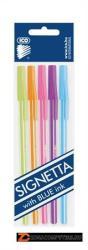 ICO Signetta Mix golyóstoll készlet (5db) 0.7mm, kupakos, 5 különböző testszín - Kék (TICSIM01)