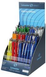 Schneider K20 Icy golyóstoll display (100db) 0.5mm, nyomógombos, vegyes színű tolltestek - Kék (TSCK20IV100)