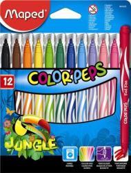 Maped Color'Peps Jungle filctoll készlet (12db) 2.8mm, ruhából könnyen kimosható - 12 különböző szín (IMA845420)