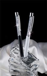 Swarovski Made With Swarovski Elements golyóstoll 0.7mm, krémfehér tolltest kristályokkal (TSW0071)