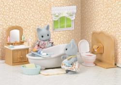 Sylvanian Families Szürke cica hugi vidéki fürdőszobája