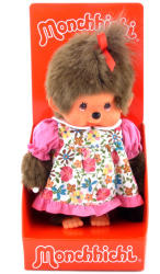 Sekiguchi Monchhichi lány 20 cm Tarka virágos ruhában
