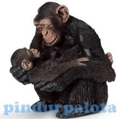 Schleich Nőstény csimpánz kölyökkel
