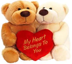 Keel Toys Ölelkező Rocky mackók szívvel - 25cm