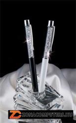 Swarovski Made With Swarovski Elements golyóstoll, 14 cm, krémfehér, felül fehér kristályokkal (TSWG022)